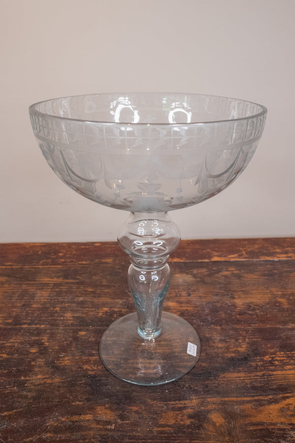 "Etched Glass Compote 12 3/4"" Tall"