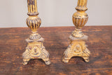 Continental Style Gold Gilt Wood Candlestick Pair