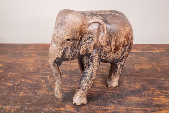Carved Wood Elephant with Trunk Down
