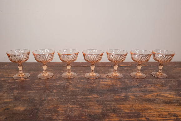 Arcoroc Rosaline Pink Swirl Glass Champagne Saucers/Footed Dessert Bowls Set of 7 Made in France
