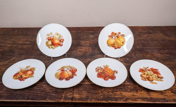 Bavarian Fruit Dessert Plates with Gold Rims Set of 6