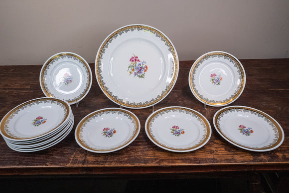 Eisenberg Floral and Gold Salad Plates and Platter, 13 Pieces