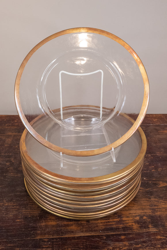 Glass Chargers with Gold Rim, Set of 15