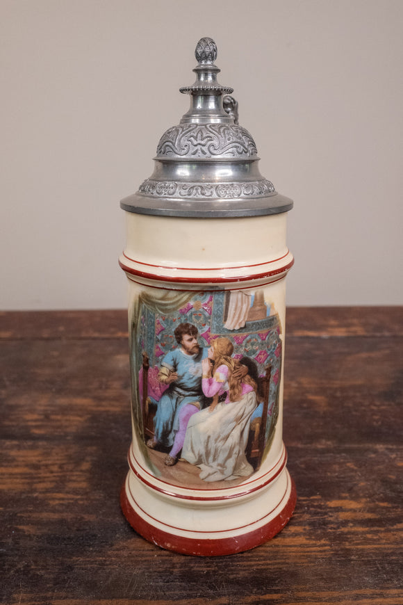 German Beer Stein Featuring a Courting Couple