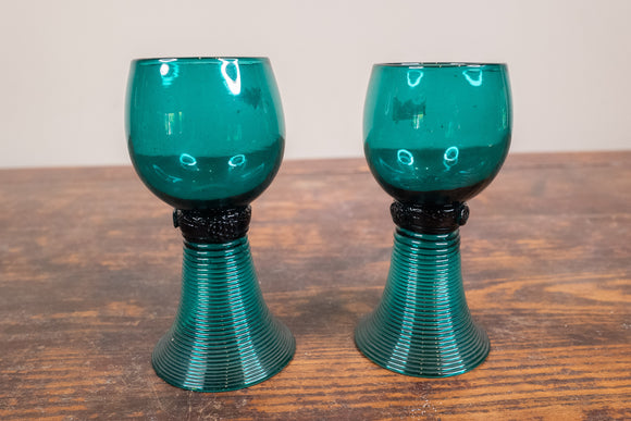Green Glass Twist Stem Hand Blown Wine Glass Pair