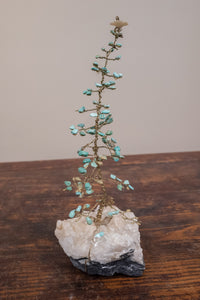 Turquoise and Brass Tree Sculpture on White Quartz Base