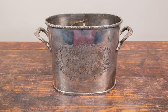 Silver Plate Wine Cooler with Crest