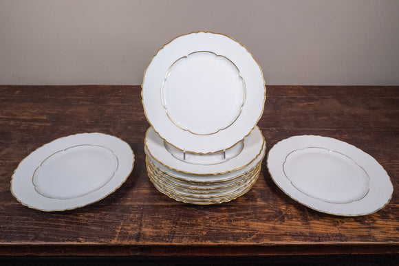 Haviland Limoges France Sheraton Gold Rimmed Dinner Plates Set of 11