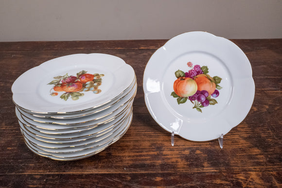 Porcelain Salad Plates with Fruit Designs Set of 12