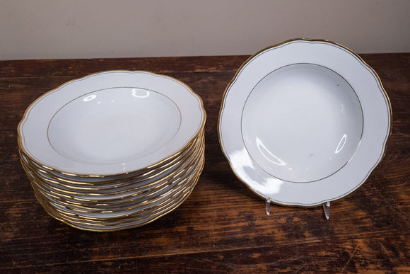 Married Set of 13 Czech and German Gold Rimmed Soup Bowls