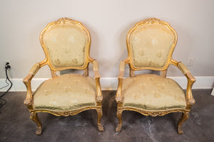 French Gold Gilded Fauteuil Arm Chair Pair