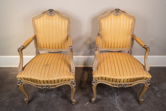 Carved Painted Dark Yellow Tint French Arm Chair Pair