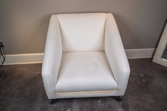 Large White Upholstered Contemporary Club Chair