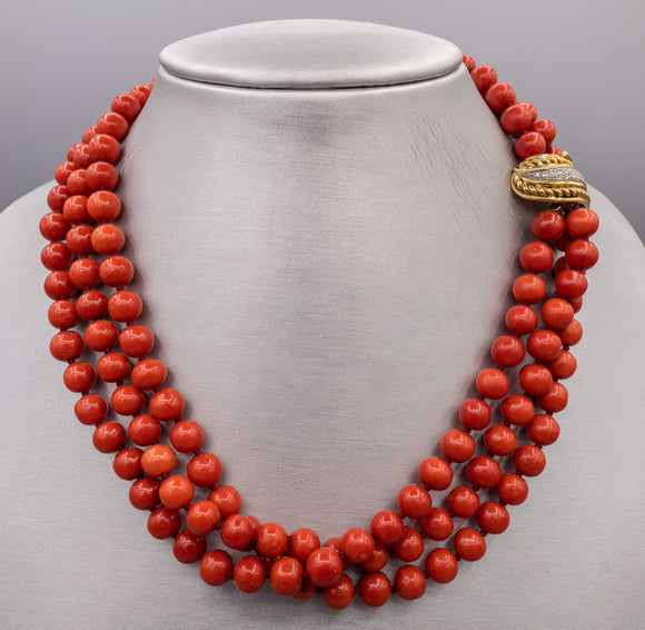 Mid Century 18K Yellow Gold .35 Ct Diamond Red Coral Multistrand Double Knotted