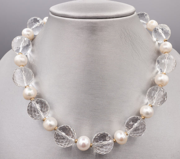 Zoe B 14K Yellow Gold Clear Faceted Quartz Crystal and Pearl Necklace