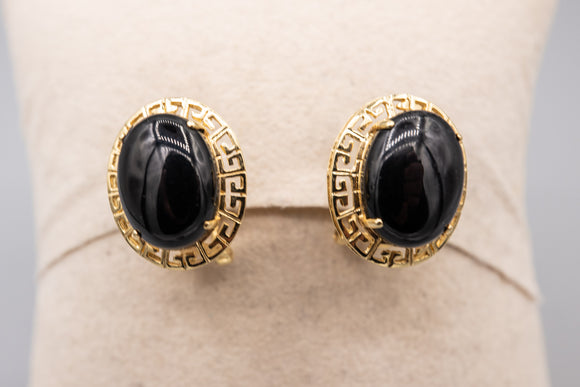 14K Black Onyx Large Greek Key Earrings