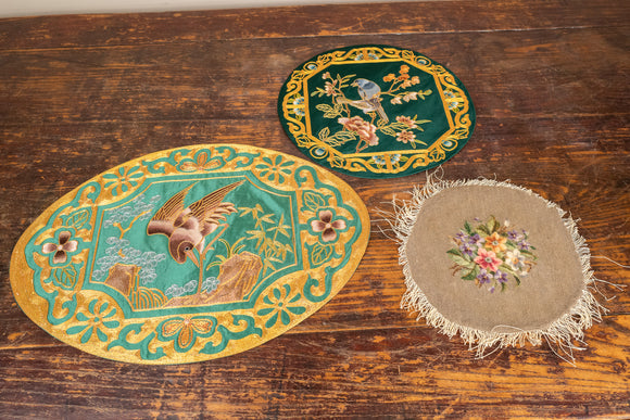 Chinese and Danish Embroidery Lot of 3