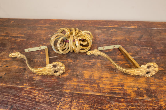 Antique French Gilt Curtain Holder and 17 Rings