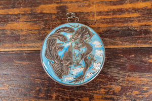 Chinese Silver and Blue Cloisonné Dragon and Phoenix Mirror Pendant
