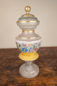 Antique Painted and Enamel Glass Jar Danish Empire Circa 1810 As Is