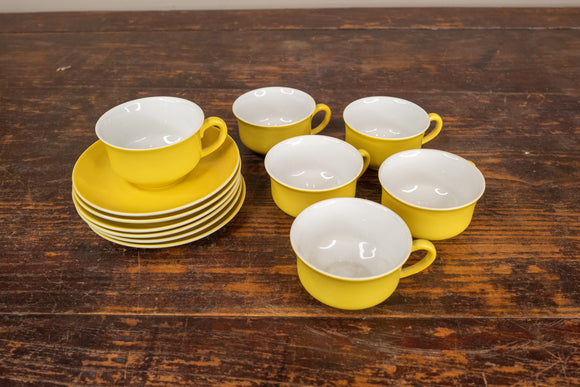 Mid Century Yellow Demitasse Cup and Saucer Set of 6