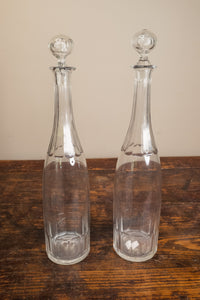 Clear Cut Glass Panel Decanter Pair