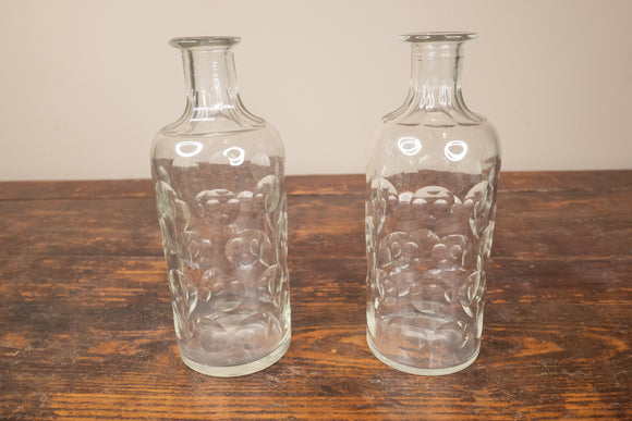 Cut Glass Carafe Pair No Stoppers