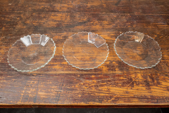 Cut Glass Plates Set of 3
