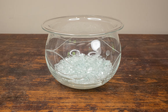Hand Blown Etched Glass Bowl with Crushed Glass