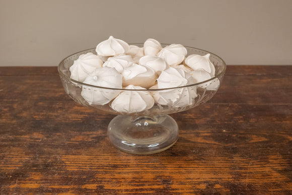 Vintage Etched Glass Compote Cake Stand with Faux Macaroons