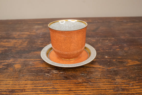 Royal Copenhagen Orange and Gold Crackleware Cup and Saucer