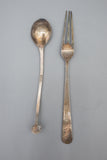 Lot of 3 Chinese Silver Enameled Spoons, 1 Fork, and Silverplate Spoon