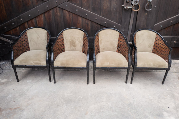 Chinoiserie Bamboo and Cane Game Chairs Set of 4