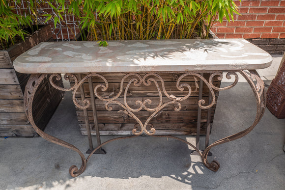 Large Wrought Iron and Poured Stone Console