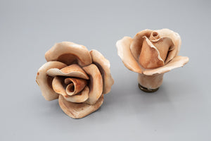 Pottery Floral Lamp Finial Pair