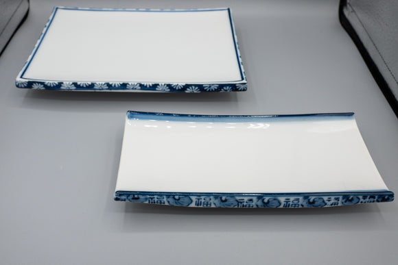 Pair of Japanese Blue and White Serving Trays