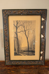 Charcoal Drawing of Forest in Fall Framed with an Art Nouveau Frame