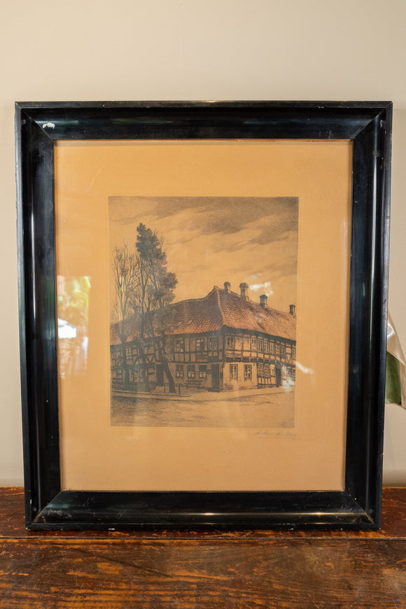 Signed Lundberg Etching of Cottage