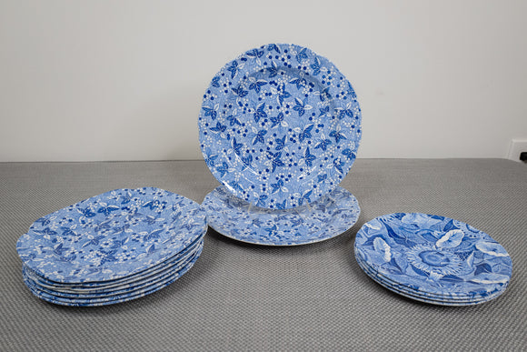 "Spode ""Blue Room Collection"" Partial Service of 13 Plates Mixed Patterns"