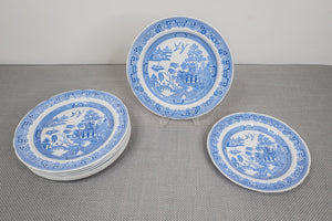 "Spode ""Blue Room Collection"" ""Willow"" Set of 8 Dinner Plates and 1 Luncheon Plate"