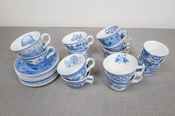 Spode Blue Cup and Saucers Lot of 11 Cups and 10 Saucers and 3 Votives Various Patterns