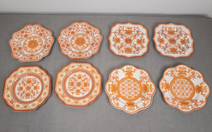 "Spode ""Indian Red"" Dessert/Buffet Plates Set of 8 Various Shapes and Sizes"