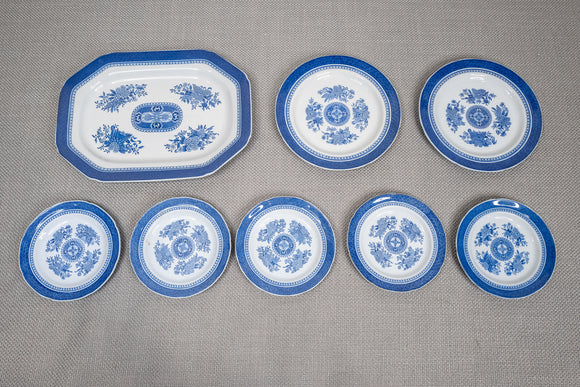 "Spode ""Fitzhugh Blue"" Platter and Plates Lot of 8"