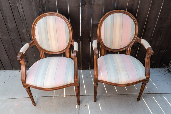 Baker Furniture Traditional French Provincial Arm Chair Pair