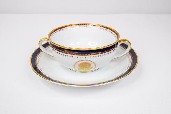 Presidential Ronald Reagan White House China Service Fitz Floyd Soup Bowl & Saucer