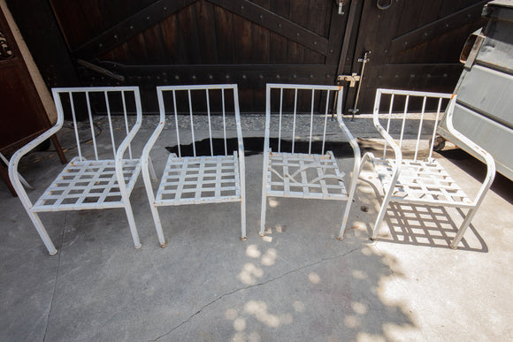 White Metal Patio Arm Chairs Set of 4