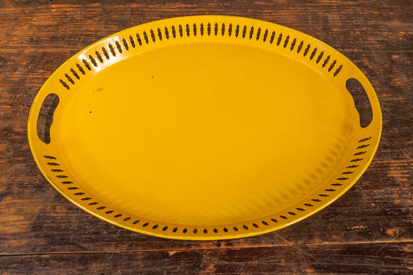 Mid Century Yellow Painted Reticulated Metal Tray