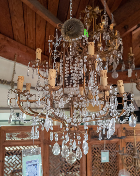 Large Gold Tone Crystal Chandelier