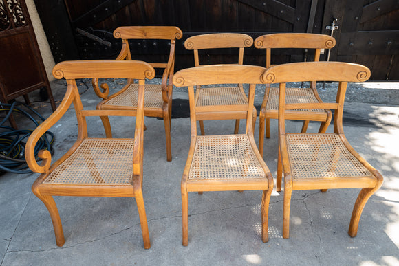 British Colonial Satinwood Chair Set of 6