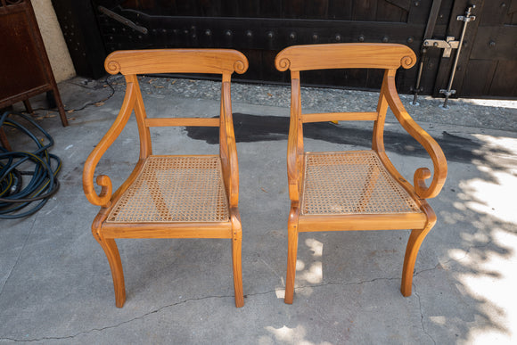 British Colonial Satinwood Arm Chair Pair